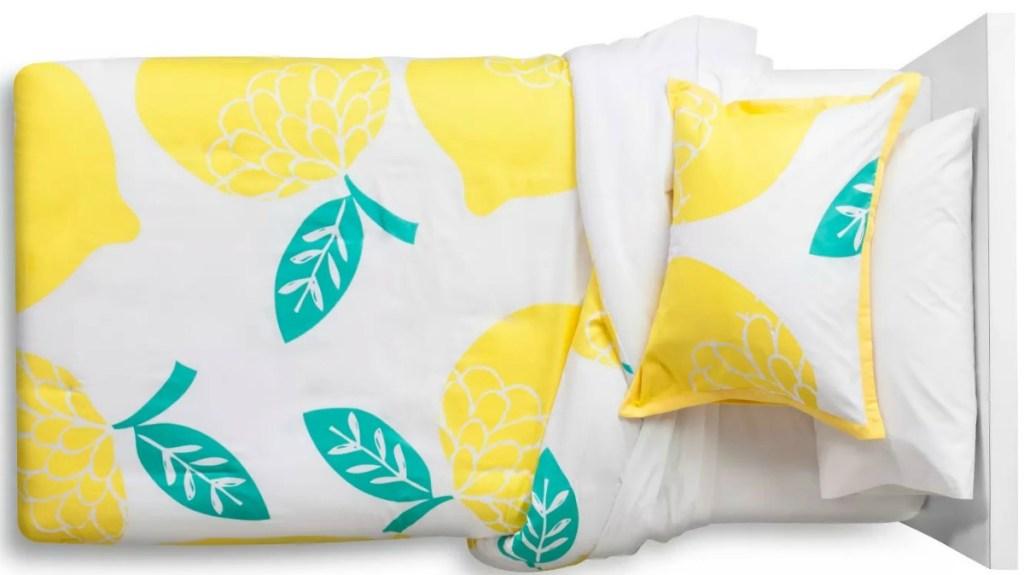 Lemon print comforter bedding set