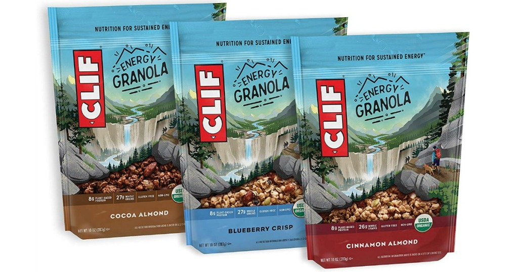 three bags of Clif Granola in different flavors