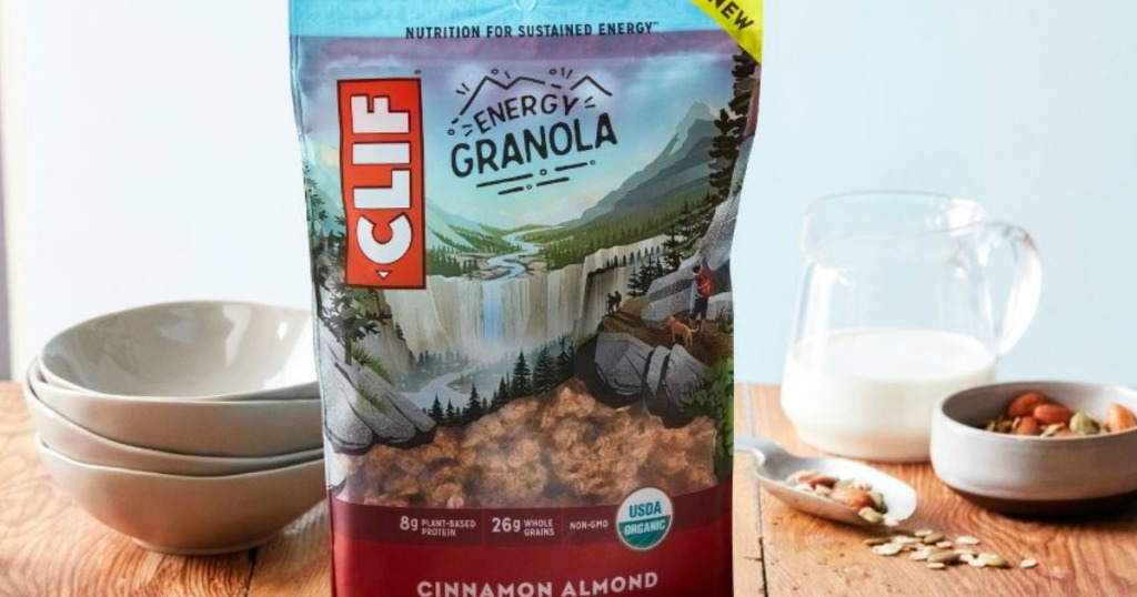 Clif Granola Bag on counter with cereal bowls and milk
