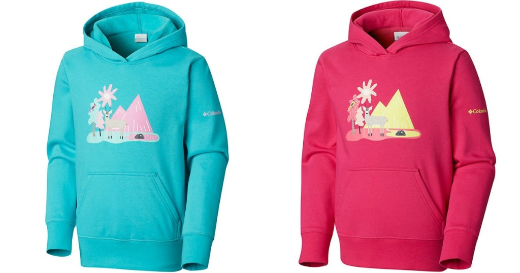 Columbia CSC Hoodie in teal and pink