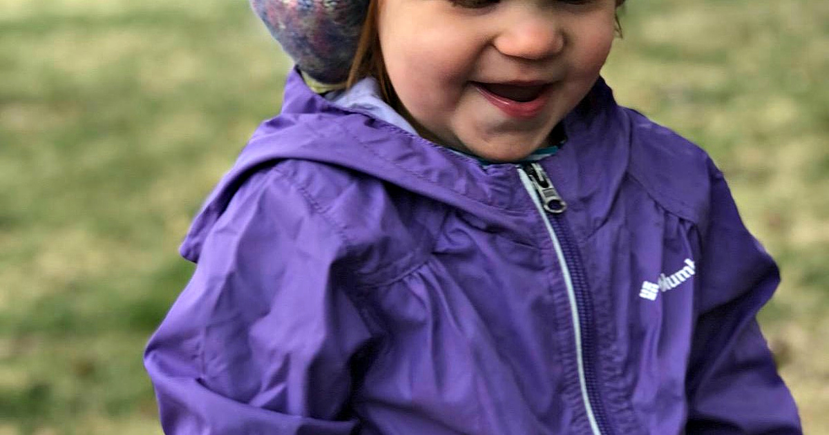 toddler girl wearing columbia jacket