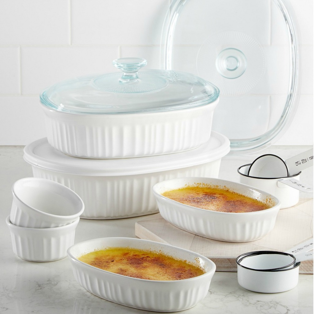 Ten piece set of Corningware backware in french white with coordinating tops