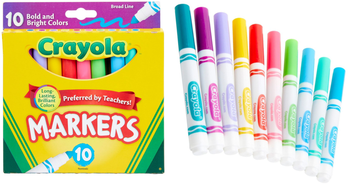 crayola bold bright broadline markers in and out of box