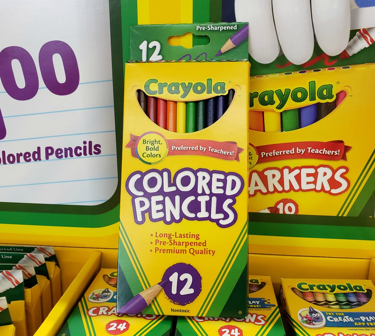 12-Pack of Crayola colored pencils in store display