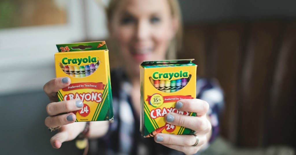 Collin holding Crayola Crayons