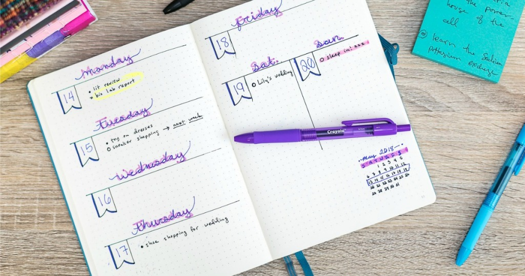 Crayola Gel Pens used in journal