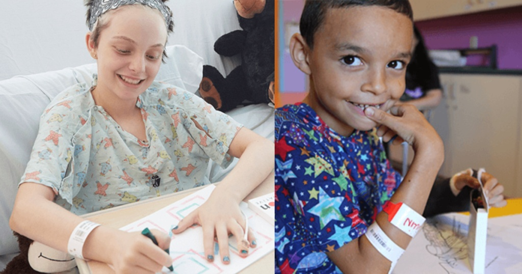 children in hospital coloring with crayons