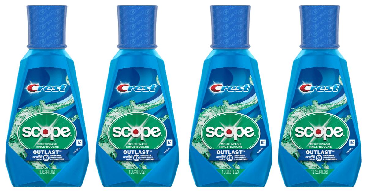 Crest Scope Outlast Mouthwash 1-Liter Bottle side by side