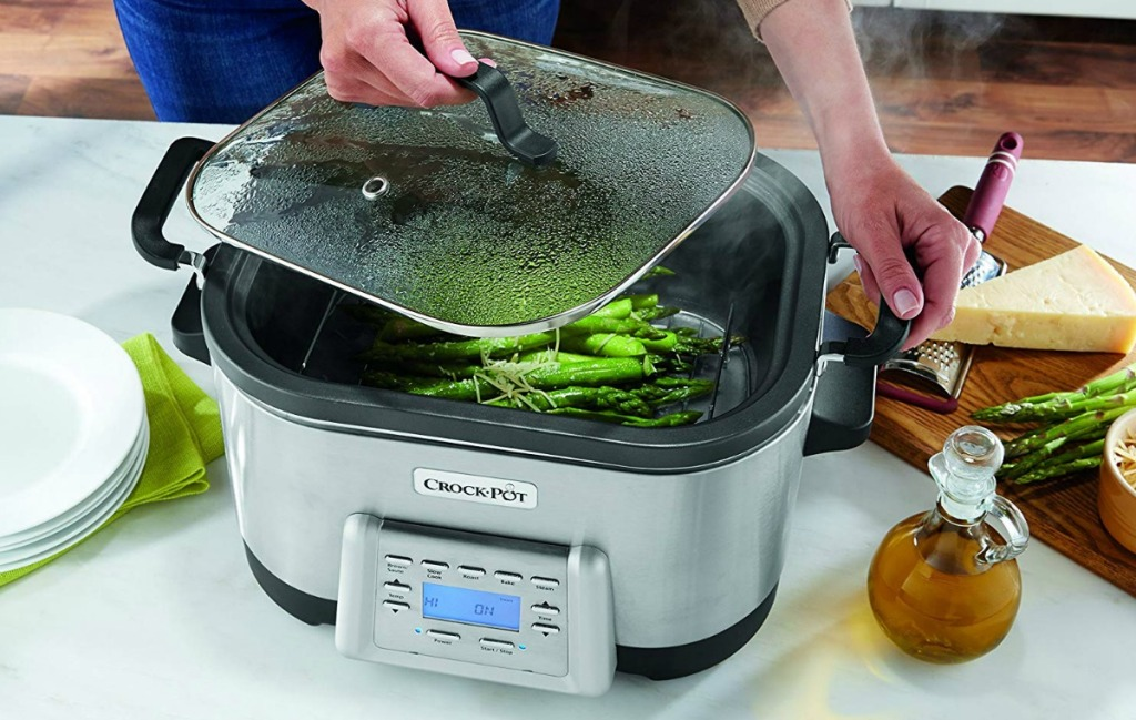 Vegetables steaming in an extra large multi-cooker