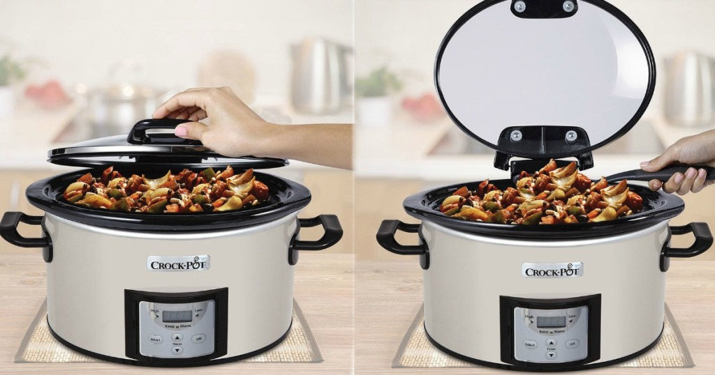 Hand lifting lid on Crock-Pot