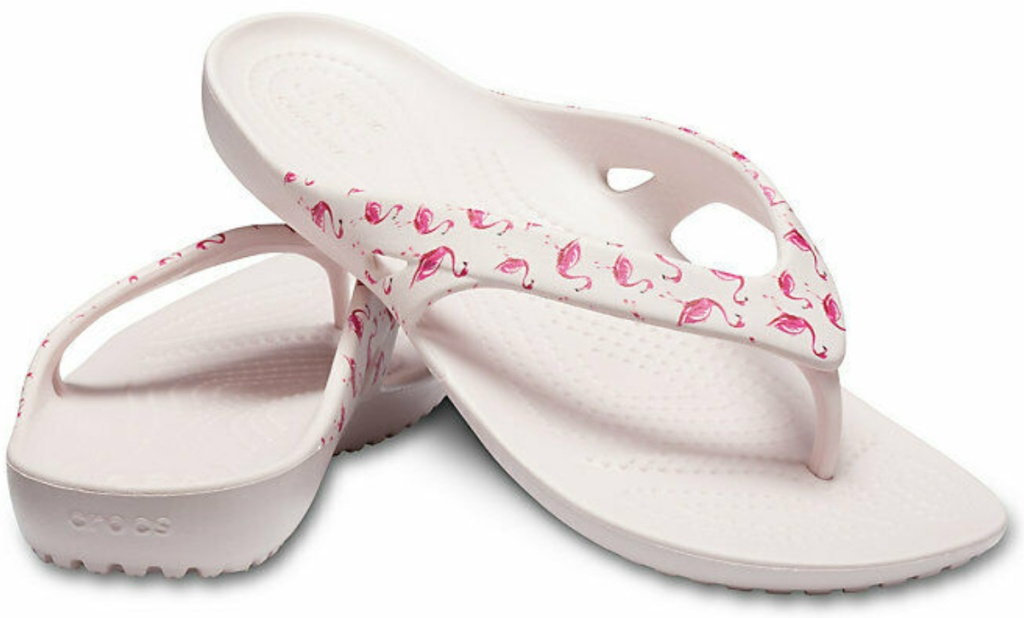 Crocs Women's Kadee II Seasonal Graphic Flip in white flamingo