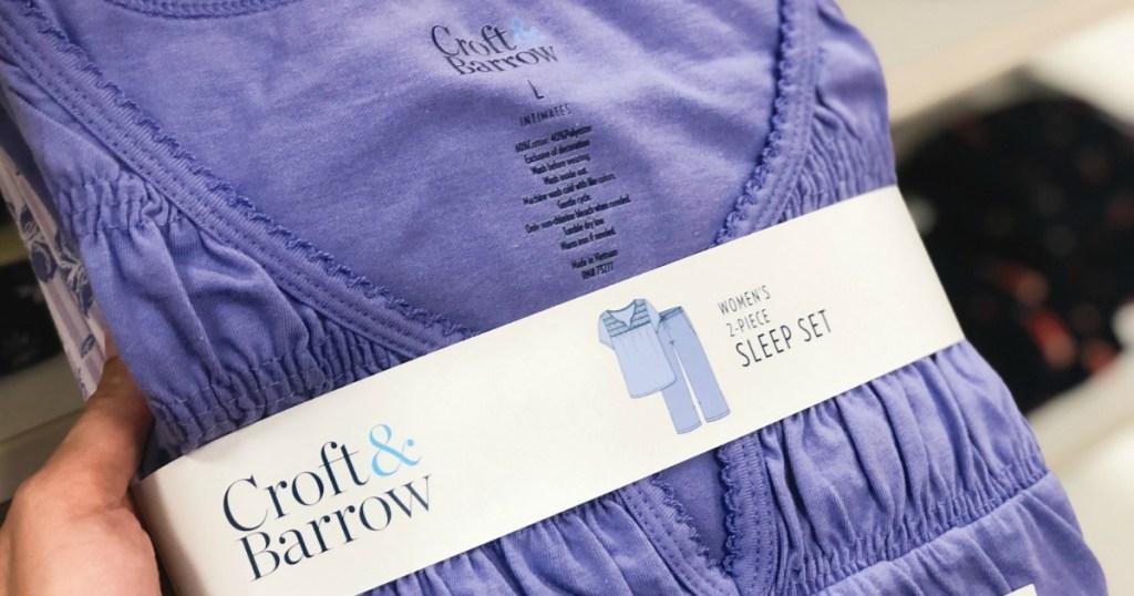 Woman holding purple Croft & Barrow Women's Sleep Set