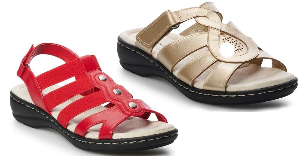 NEW Croft and Barrow Women/'s Peg Metal Accent Sandals Tan #205970 77P tp