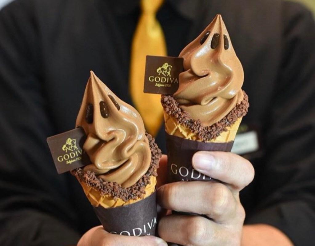 2 Godiva chocolate ice cream cones