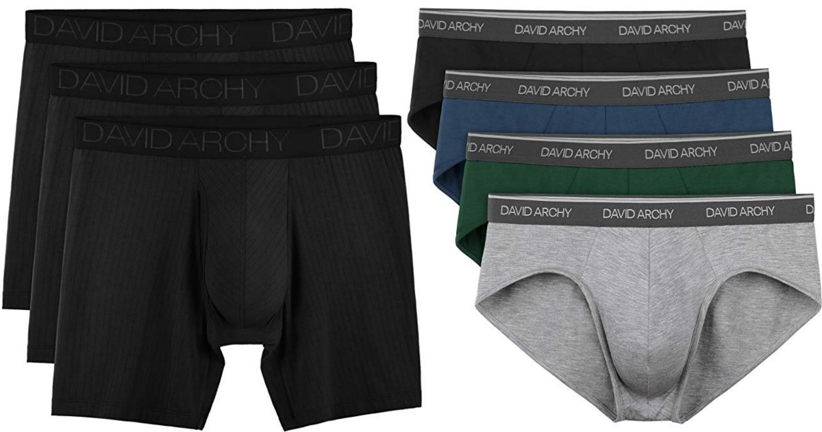 mens 3-pack of black boxer-briefs and 4-pack of multicolored briefs