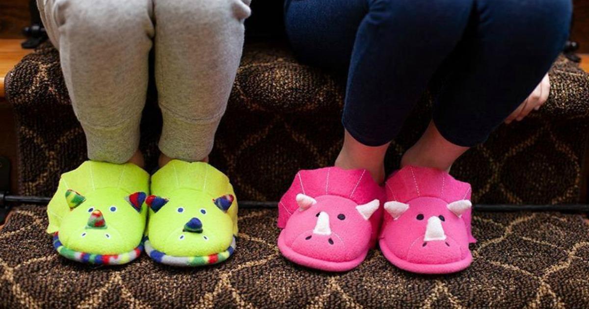 Kids wearing Dearfoams slippers