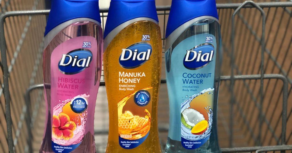 three bottles of body wash in walmart cart