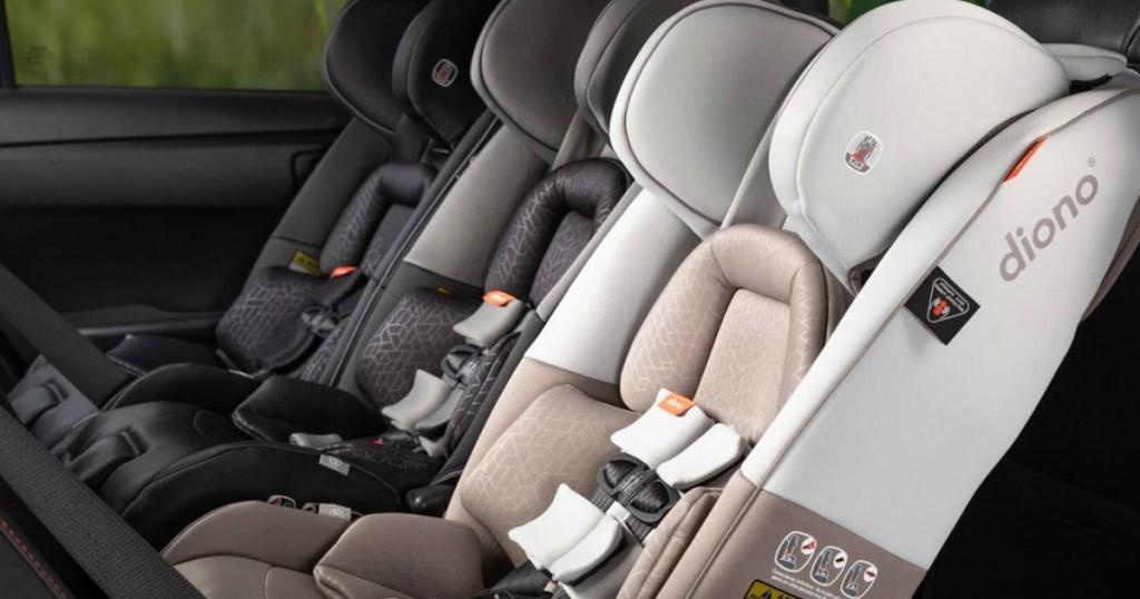 Three Diono Car Seats in a Car