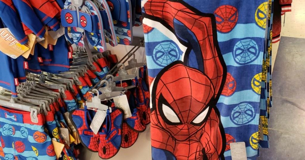 Disney store display of Spider-man summer gear