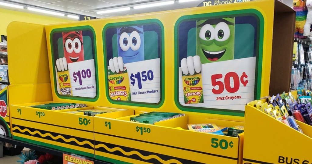 School bus-themed display of crayola-brand school supplies