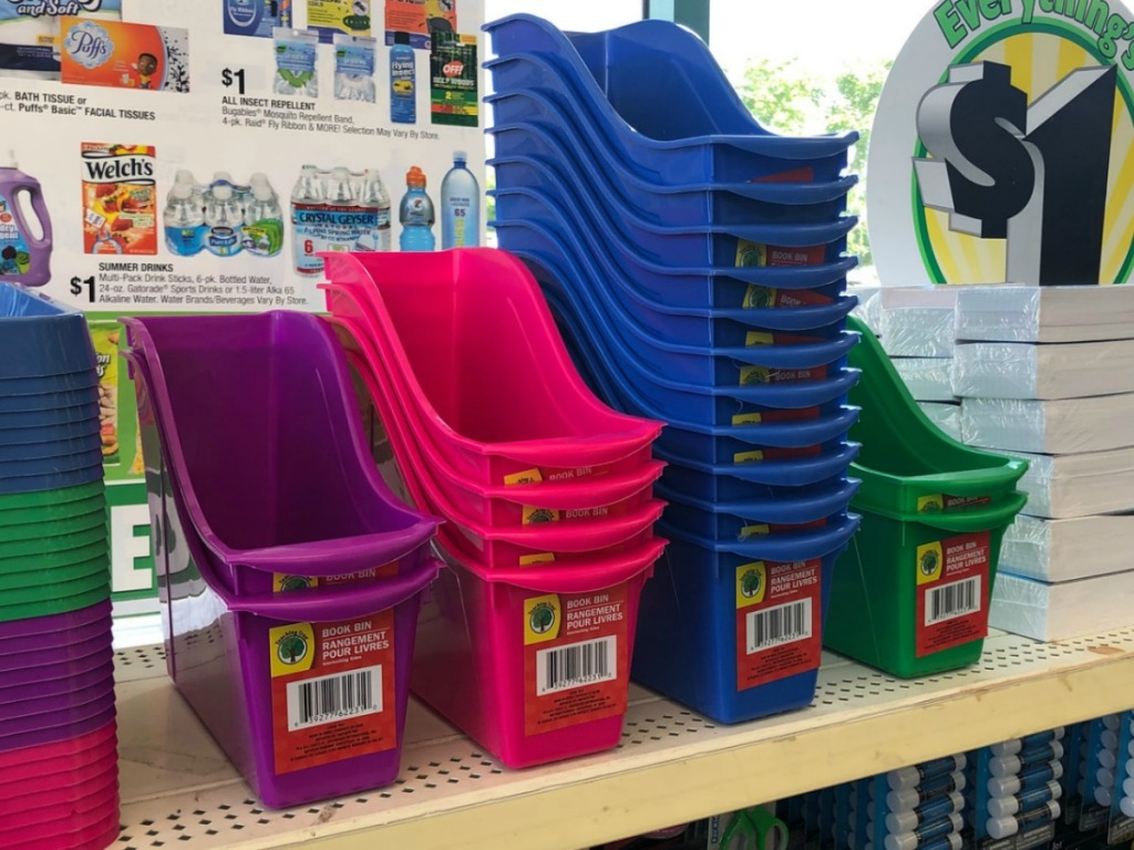 Dollar Tree Book Bins on Shelf
