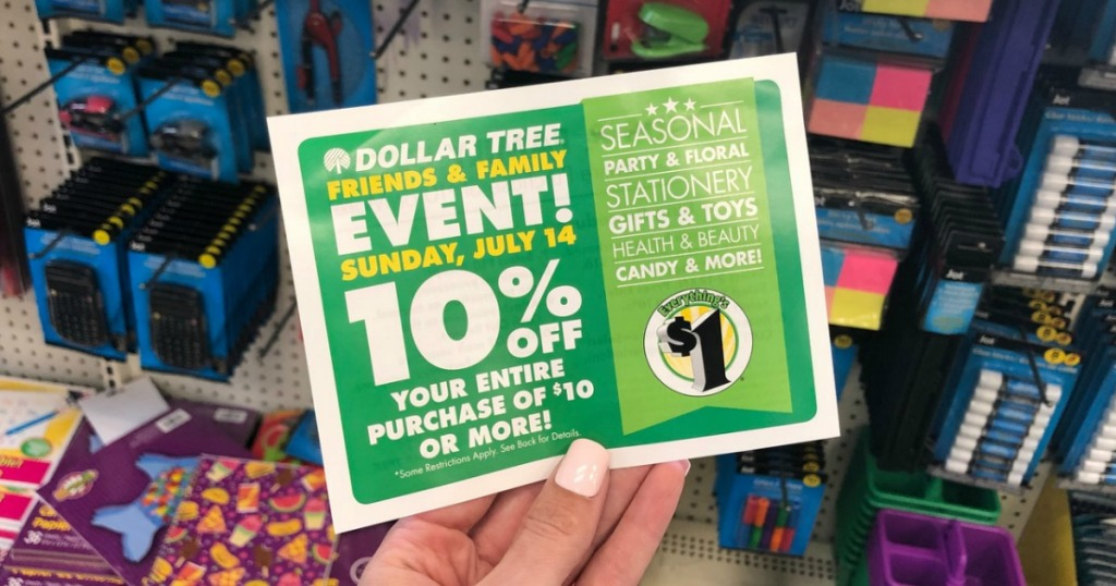 Hand holding Dollar Tree Coupon
