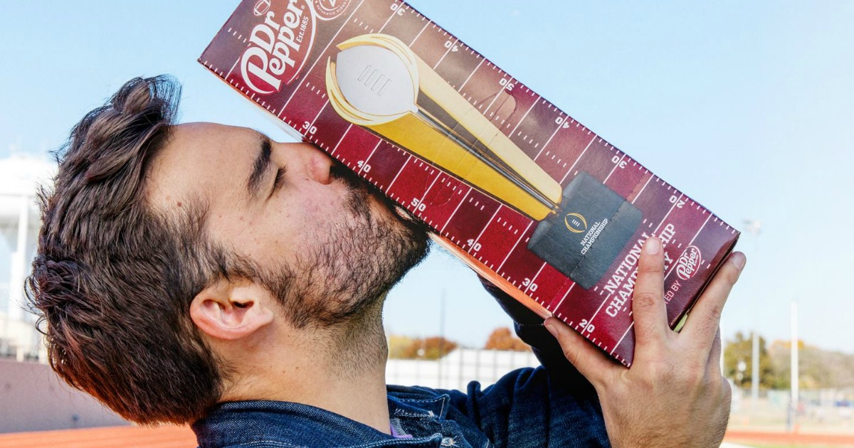 guy kissing dr pepper 12-pack outdoors