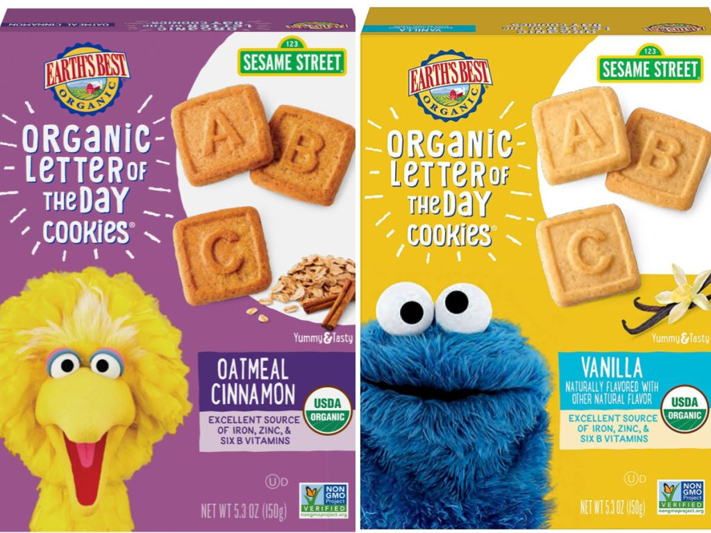 boxes of earths best organic sesame street cookies
