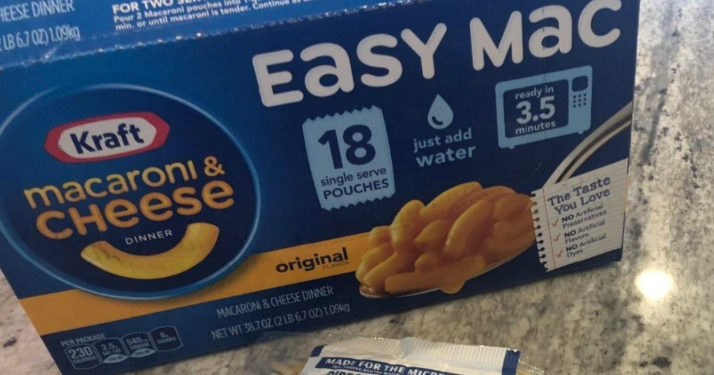 Kraft Easy Mac 18ct on counter