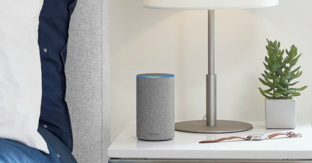 Echo 2nd Generation Smart Speaker with Alexa on nightstand