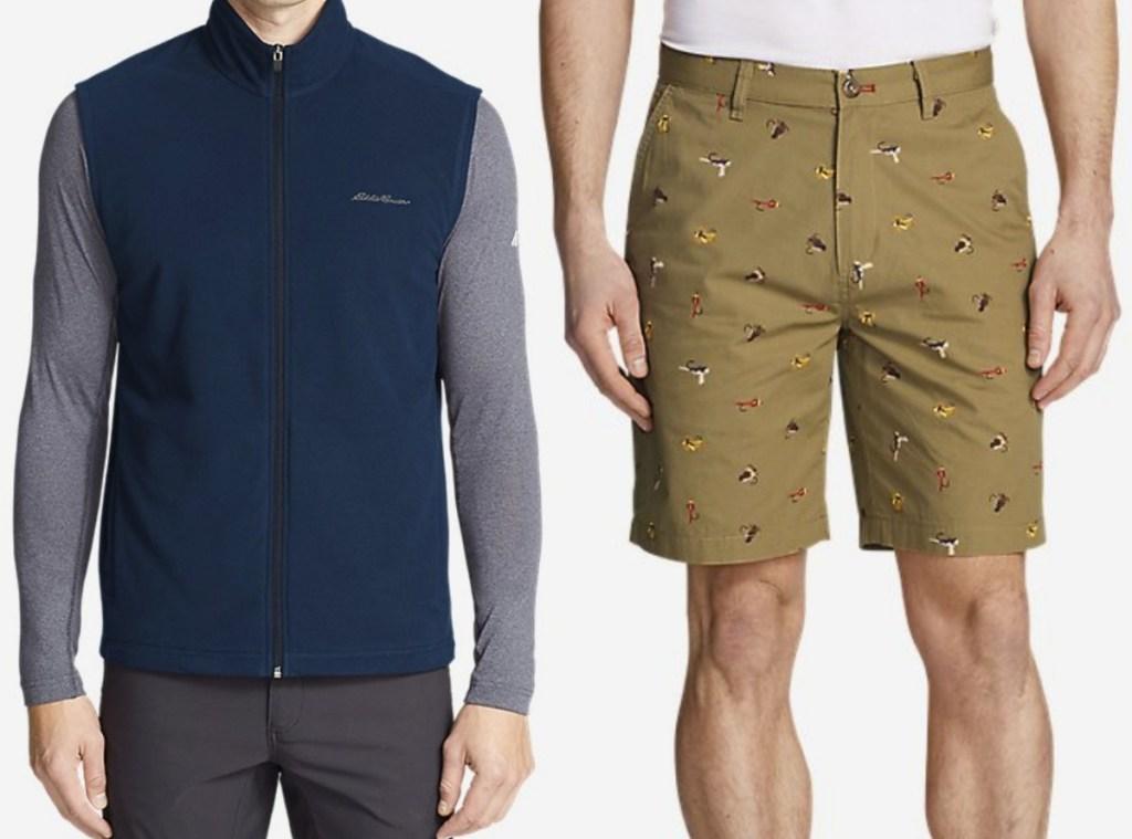 Men standing in Eddie Bauer printed shorts and fleece zip-up vest