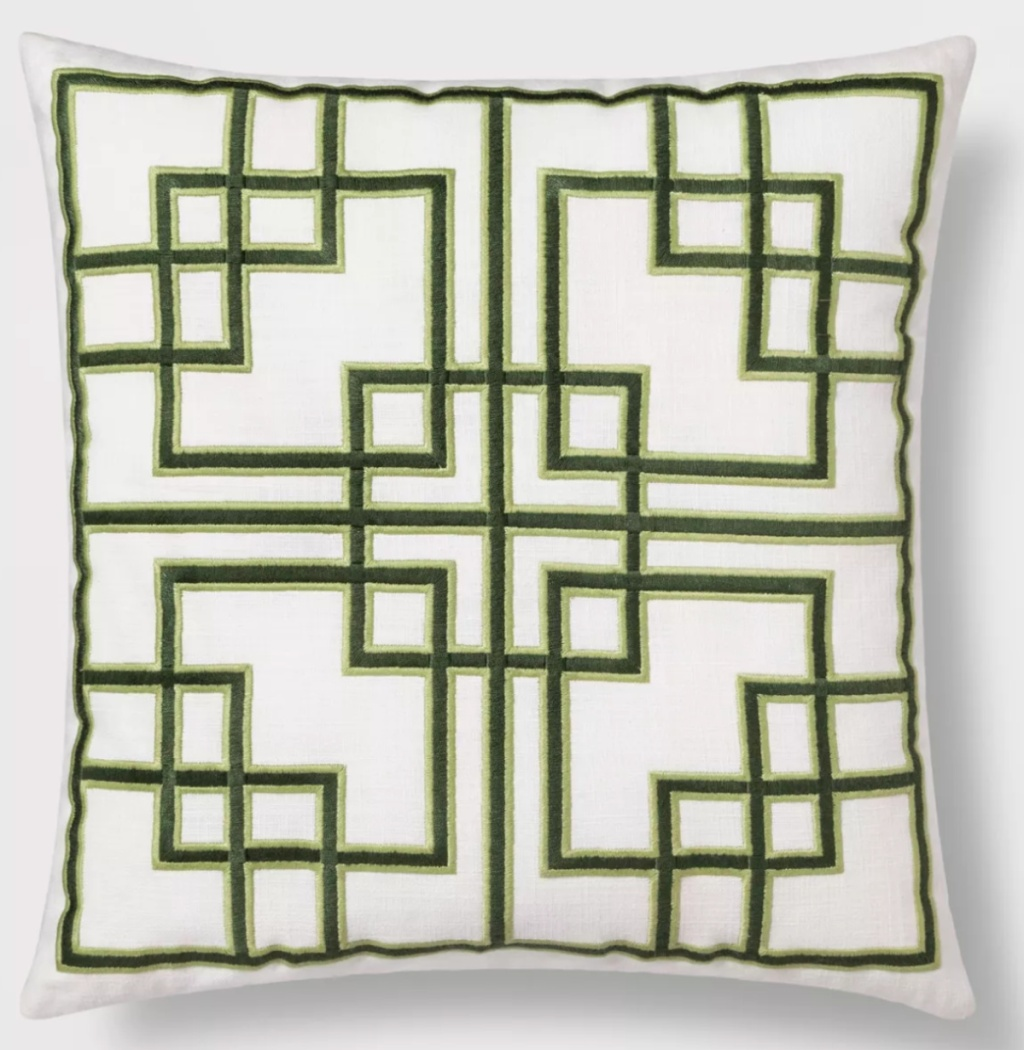 thershold Embroidered Fretwork Square Throw Pillow Green