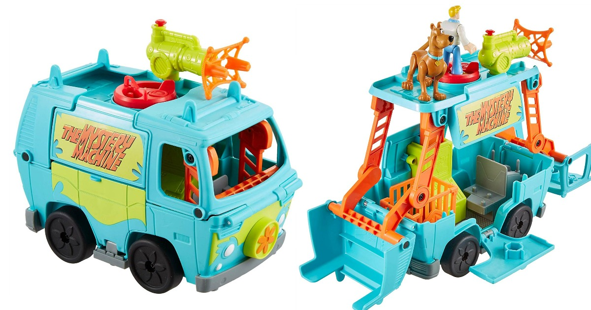 two views showing the Imaginext Mystery Machine toy in action