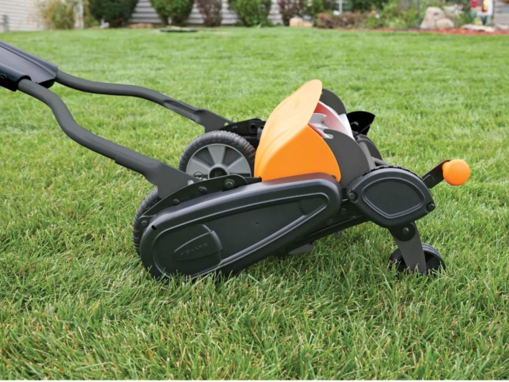 Fiskars StaySharp Max Reel Mower on grass