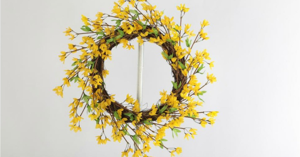 yellow floral wreath on hook