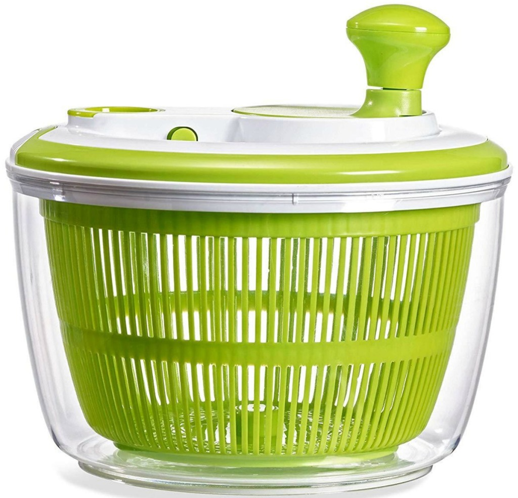 Green and white salad spinner with top on
