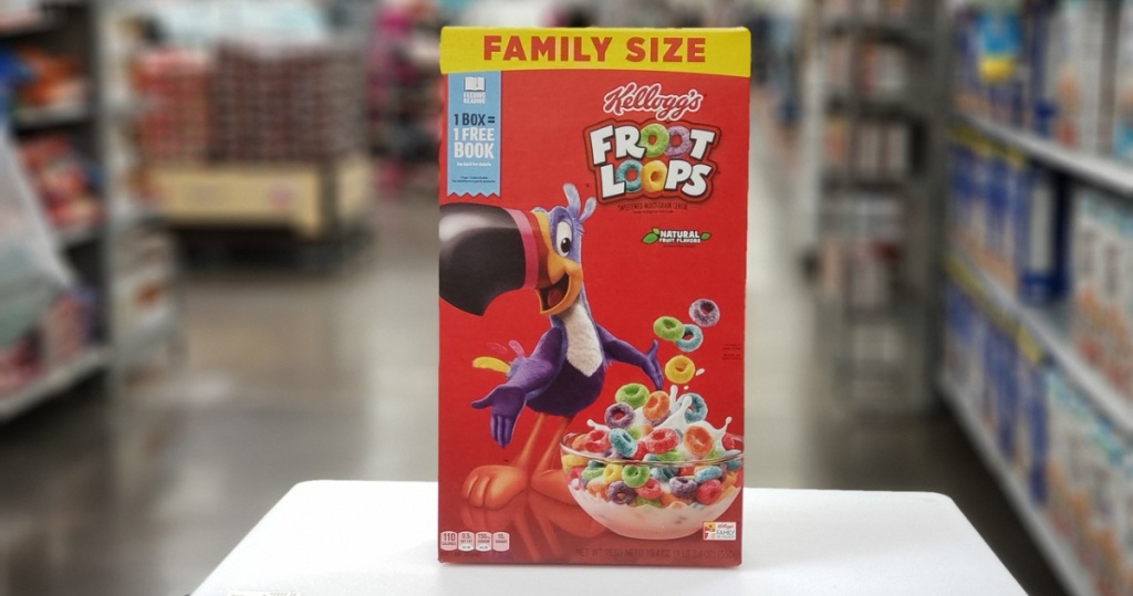 box of family size fruit loops in store