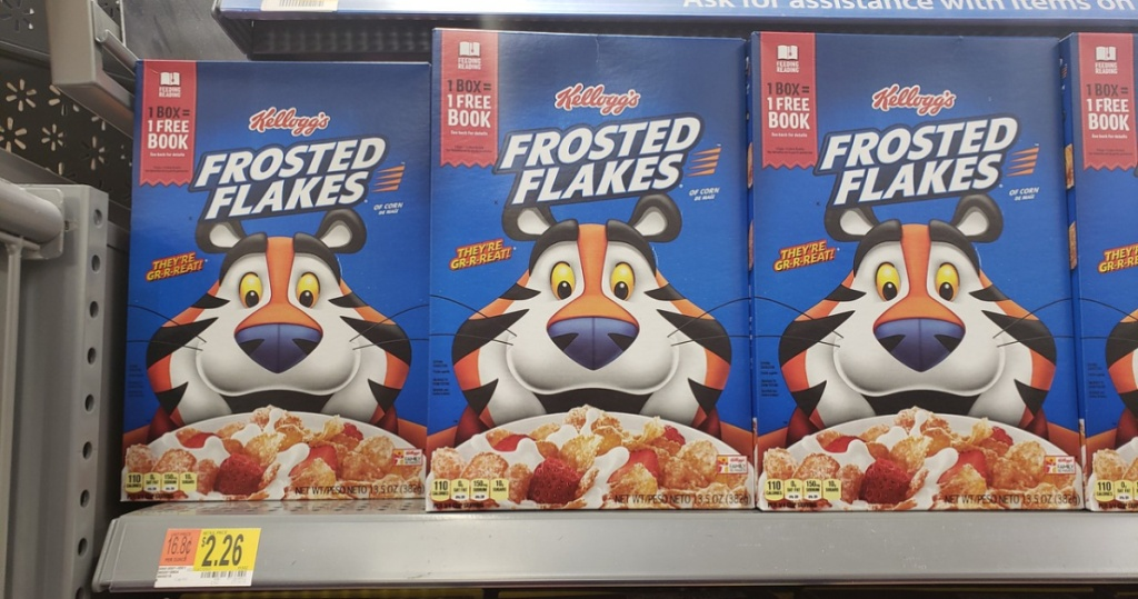 boxes of frosted flakes on shelf at walmart