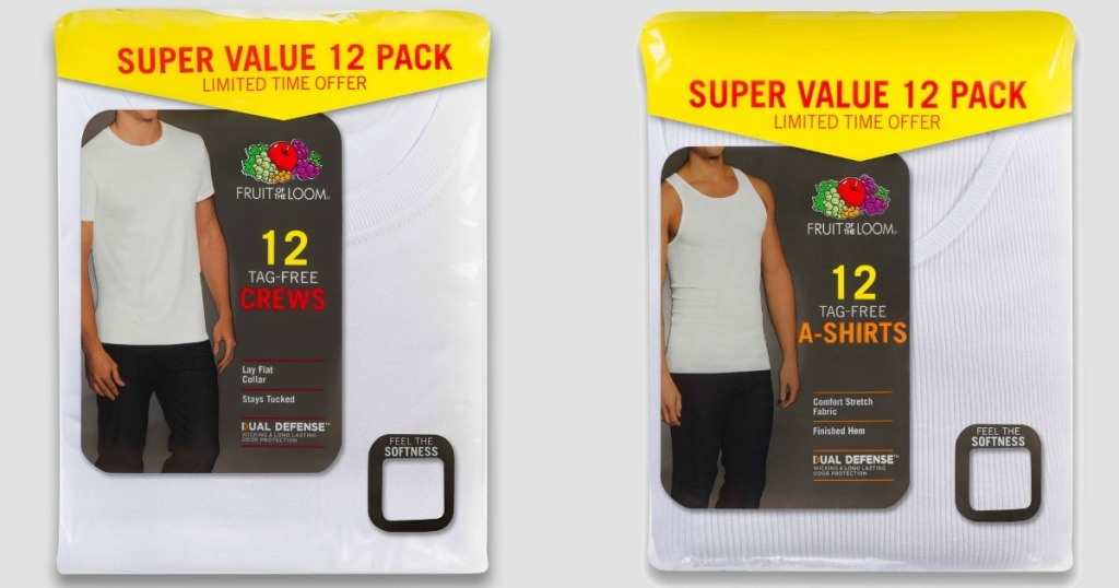 Packs of Men's Fruit of the Loom Shirts