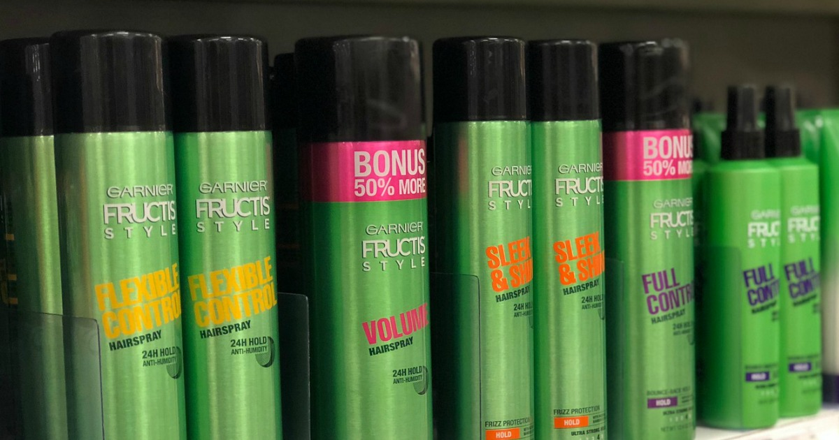 Garnier Hairsprays on store shelf
