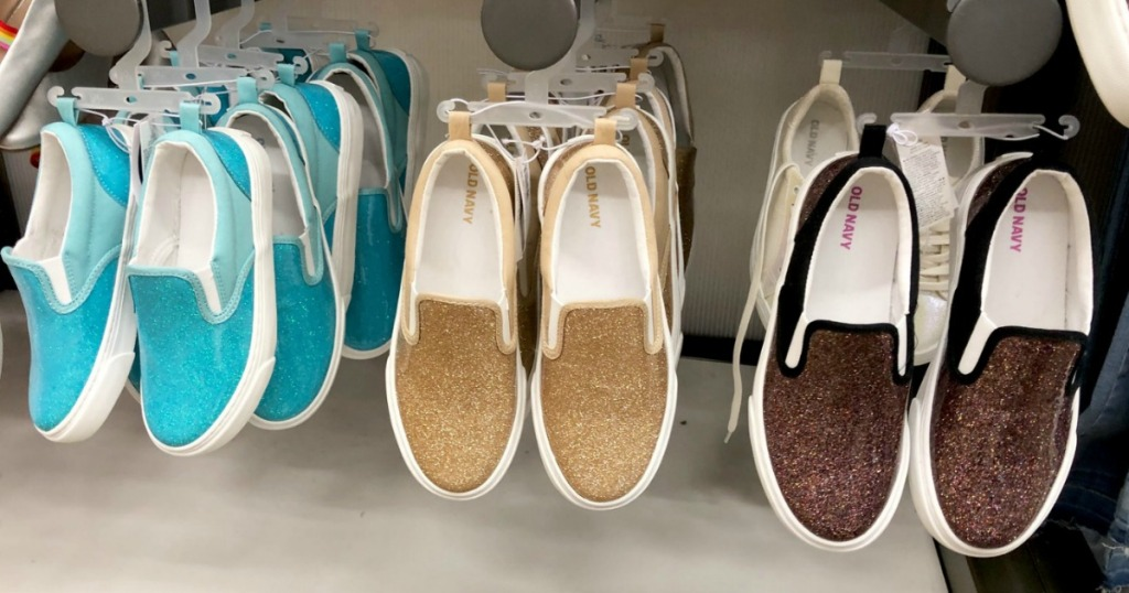 Girls sparkle Sneakers hanging at Old Navy