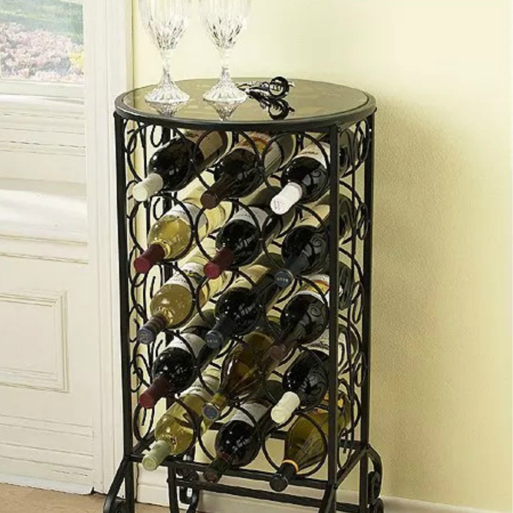 Wine storage table with glass top and iron