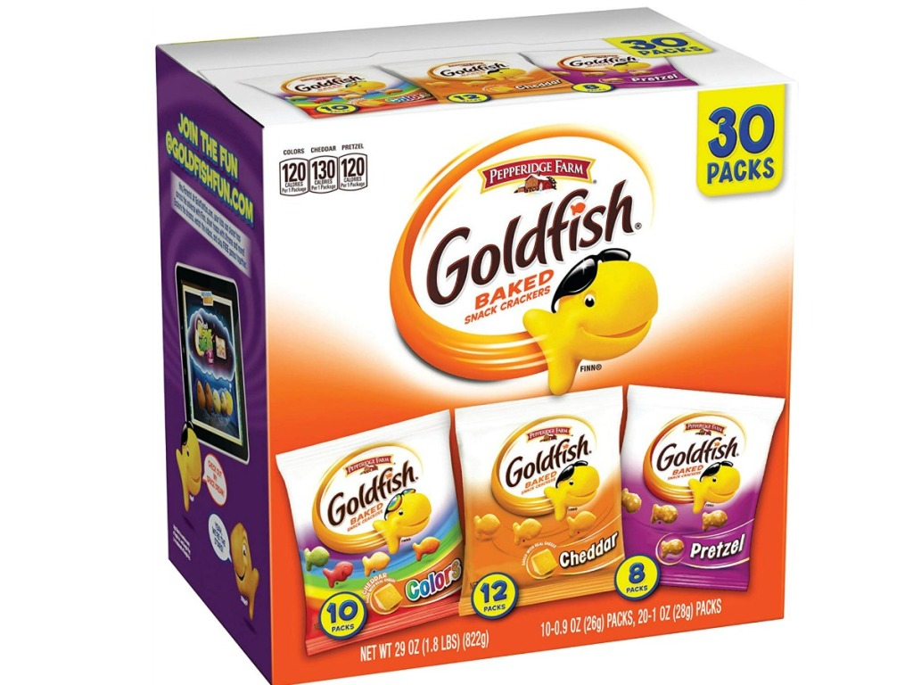 big box of snack sized bags of goldfish crackers