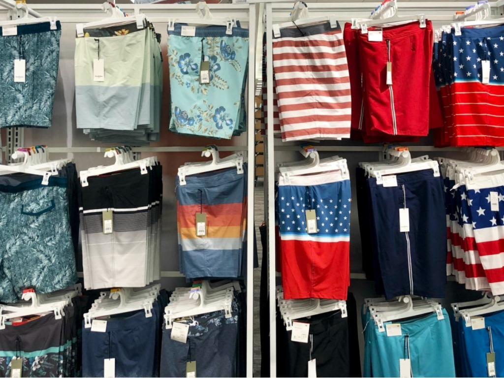 Goodfellow Patterned Trunks hanging on large wall rack at Target