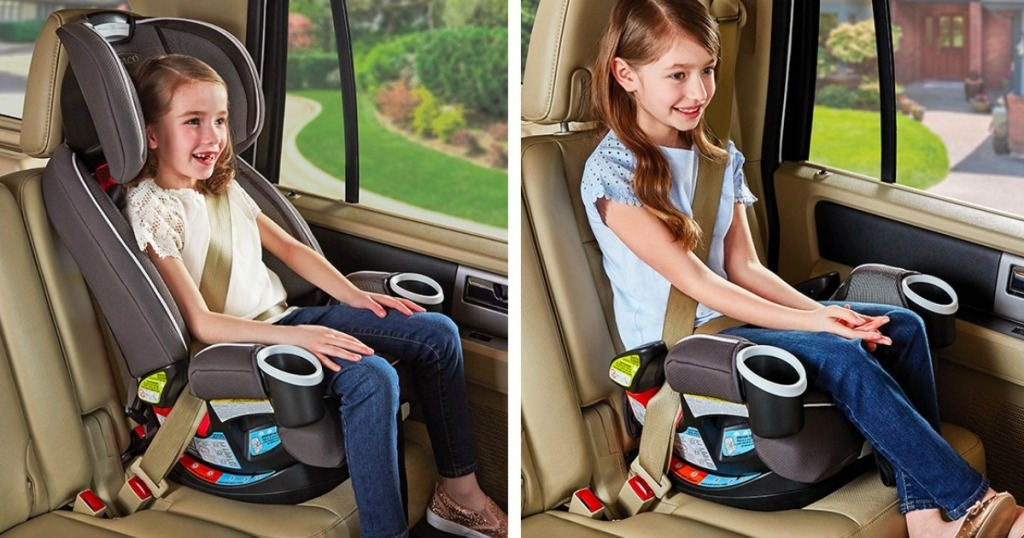 girls riding in Graco car seat