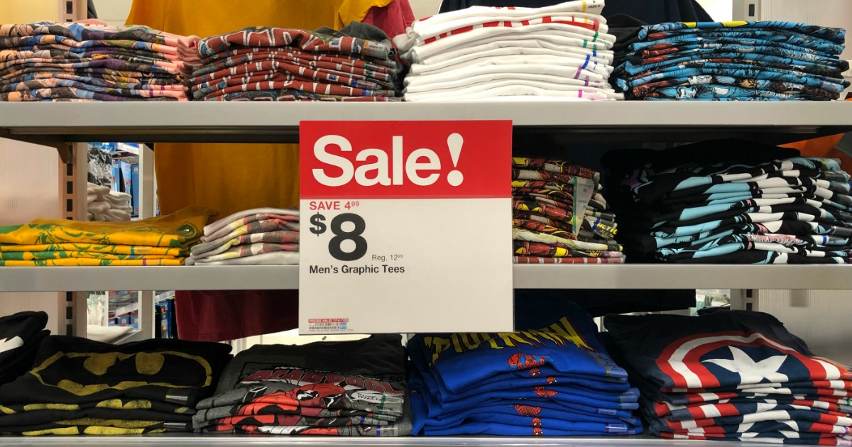 men's graphic tees at Target with sale sign