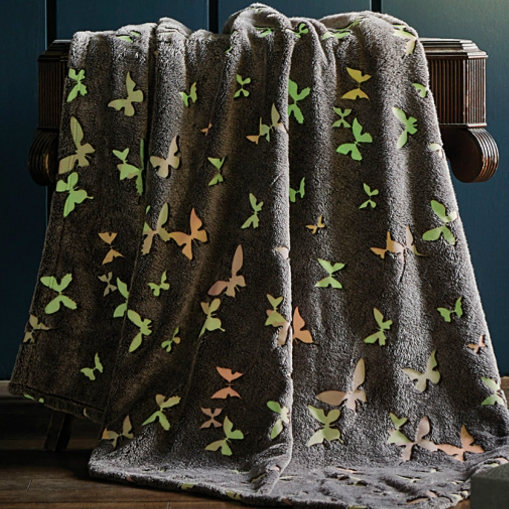 Gray plush butterfly-print throw blanket