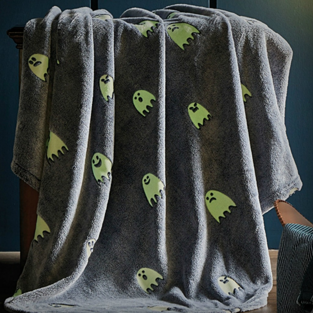Gray plush blanket with ghost print