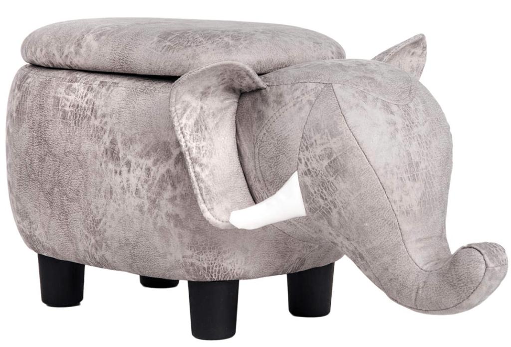 Grey Elephant Animal Storage Ottoman Footrest Stool