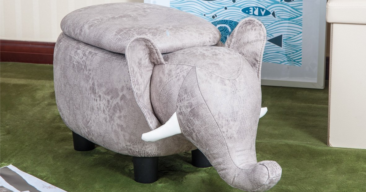 Grey Elephant Animal Storage Ottoman Footrest Stool in room on green carpet